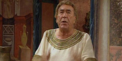 Frankie howerd reprises his role as lurcio in the one off itv spin off comedy further up pompeii