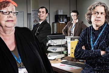 jo Brand and missing hancocks star kevin eldon star alongside alan davies in a new c4 sitcom - damned