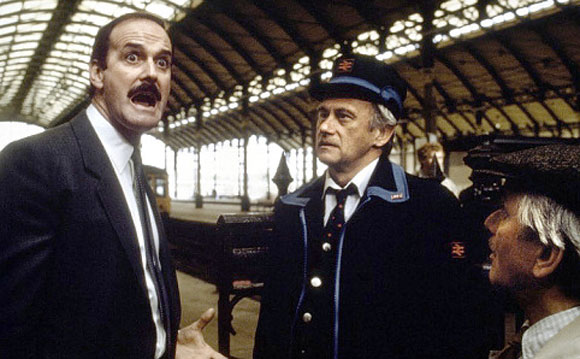 john cleese in a scene from the classic british comedy film clockwise