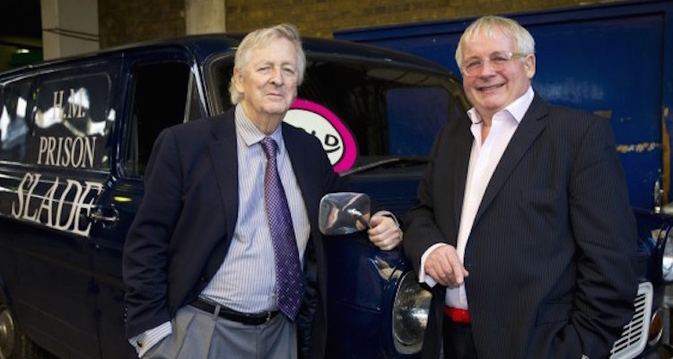 writer Dick Clement with Christopher Biggins, who played series regular Lukewarm in the BBC comedy series Porridge