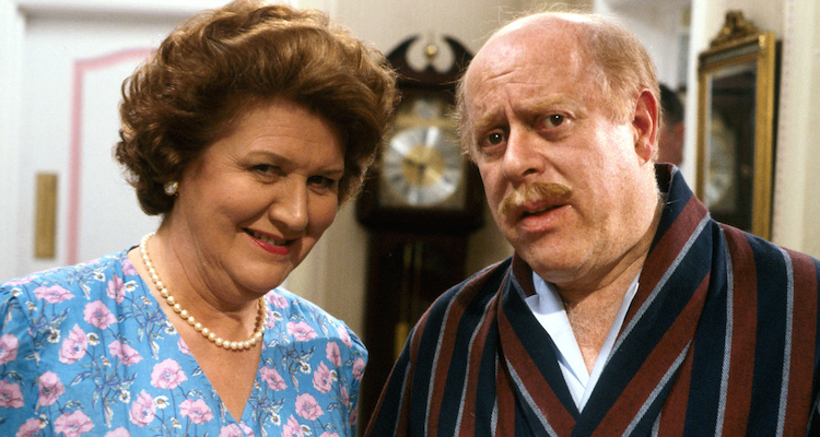 Clive Swift and Patricia Routledge are the Buckets In Roy Clarke's BBC comedy Keeping Up appearances