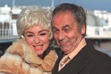 Geoffrey Hutchings and Samantha Spiro star as Sid james ansd Barbera Windsor in the TV drama Cor Blimey