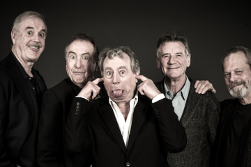 the surviving five pythons re-unite for a series of live shows entitled Monty Python Live (mostly)