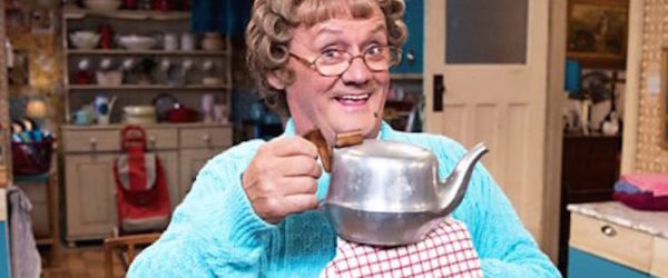 mrs brown invites audiences into her home for an evening of mayhem and celebrity chat